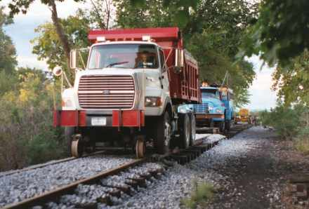 The truck is loaded in the museum yard and runs on the track to the work area.